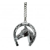 Brelok srebrny podkowa z głową konia
