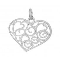 Serce ażurowe srebrne