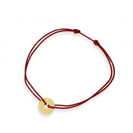 Kółeczko na bransoletce sznurkowej