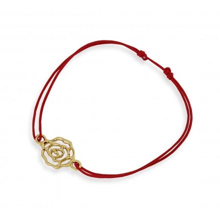 Róża na bransoletce sznurkowej