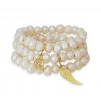Bransoletki z kamieniami zestaw: perła