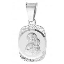 Medalik srebrny z wizerunkiem Matki Boskiej Częstochowskiej