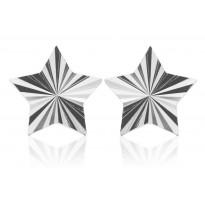 Srebrne kolczyki gwiazdki diamentowane