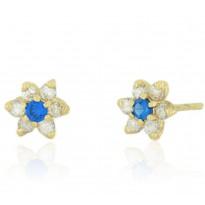 Kolczyki w kształcie kwiatka z niebieską cyrkonią
