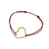 Serce na bransoletce sznurkowej