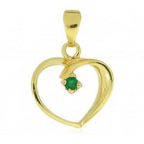 Serce z zieloną cyrkonią