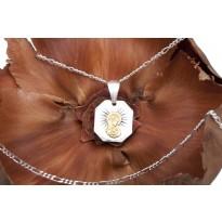 Medalik Matka Boska Karmiąca + łańcuszek srebrny 50 cm (splot figaro)