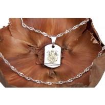 Medalik Matka Boska Karmiąca + łańcuszek srebrny 45 cm (splot singapur)