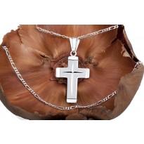 Krzyżyk srebrny + łańcuszek srebrny 50 cm (splot figaro)